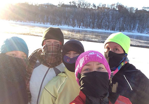 Runners bundled up for cold weather during the Polar Run session